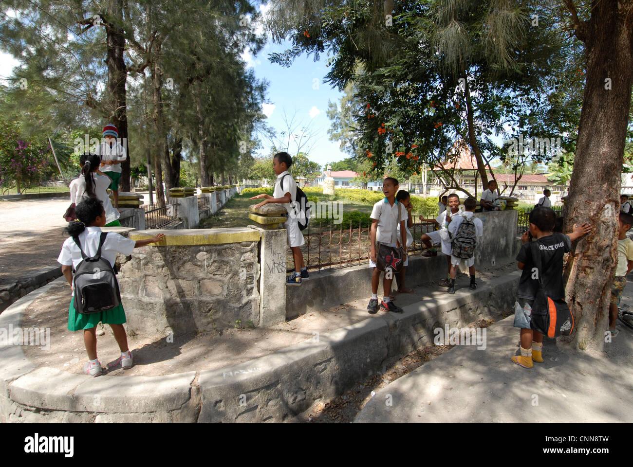 Schoolchildren in Vikeke  village Timor Leste Stock Photo