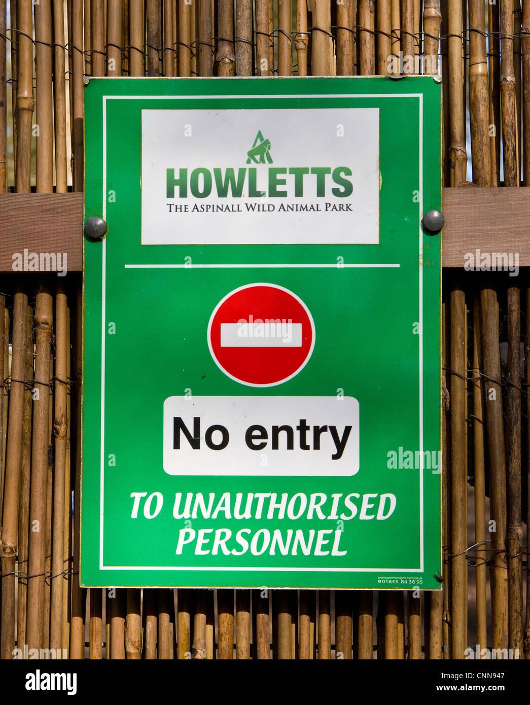 No Entry Sign Howletts Zoo Park near Canterbury Kent The Aspinall Wild Animal Park - Stock Image