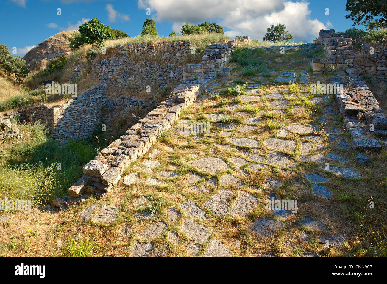 Ruins of the Acropolis of Ancient Troy Archaeological site - Stock Image