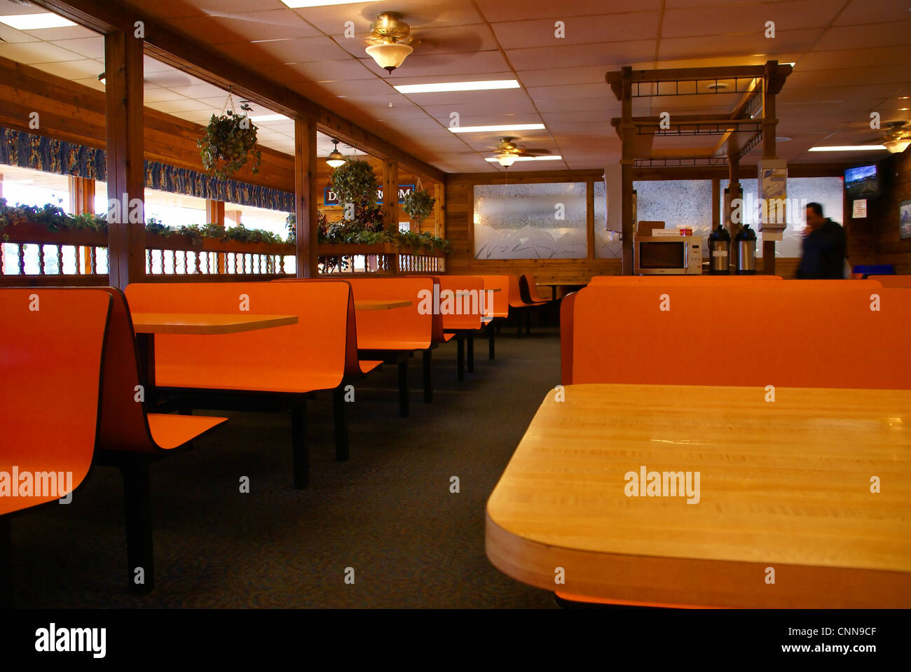 Bright Orange Tables And Benches In Roadside Cafeteria; Rest Area Along  Columbia Icefield Parkway, Alberta, Canada