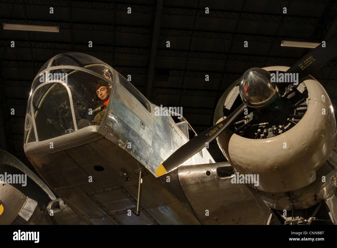 Bombardier Mannequin at the controls. Aircraft- Beech AT-11 Kansan. - Stock Image