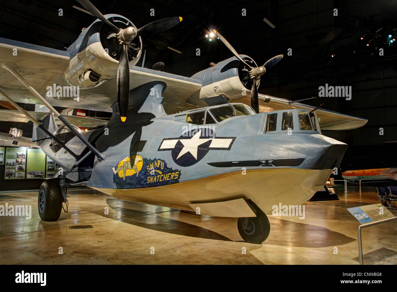 Airplane- Consolidated OA-10 Catalina named SNAFU Snatchers. Vintage World War 2. - Stock Image