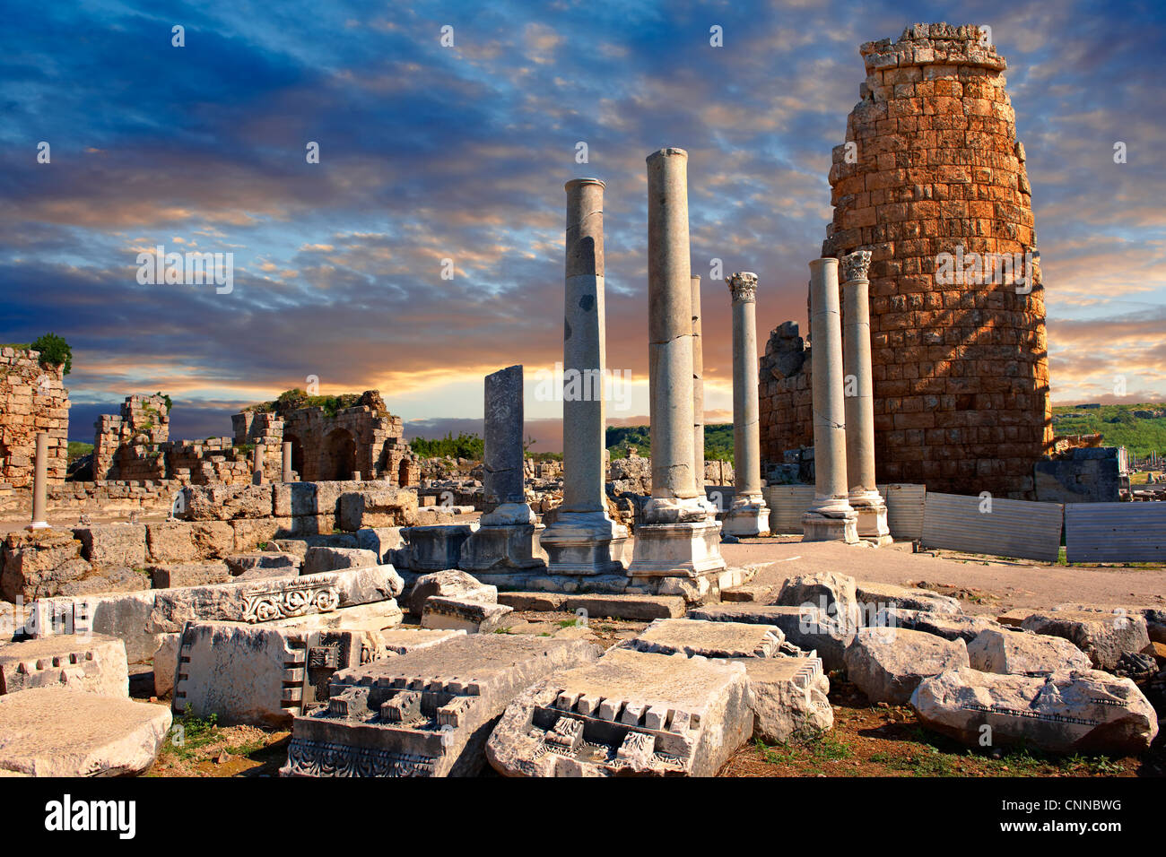 Ruins of the Hellenistic Gate towers of Perge. Perge (Perga) archaeological site, Turkey - Stock Image