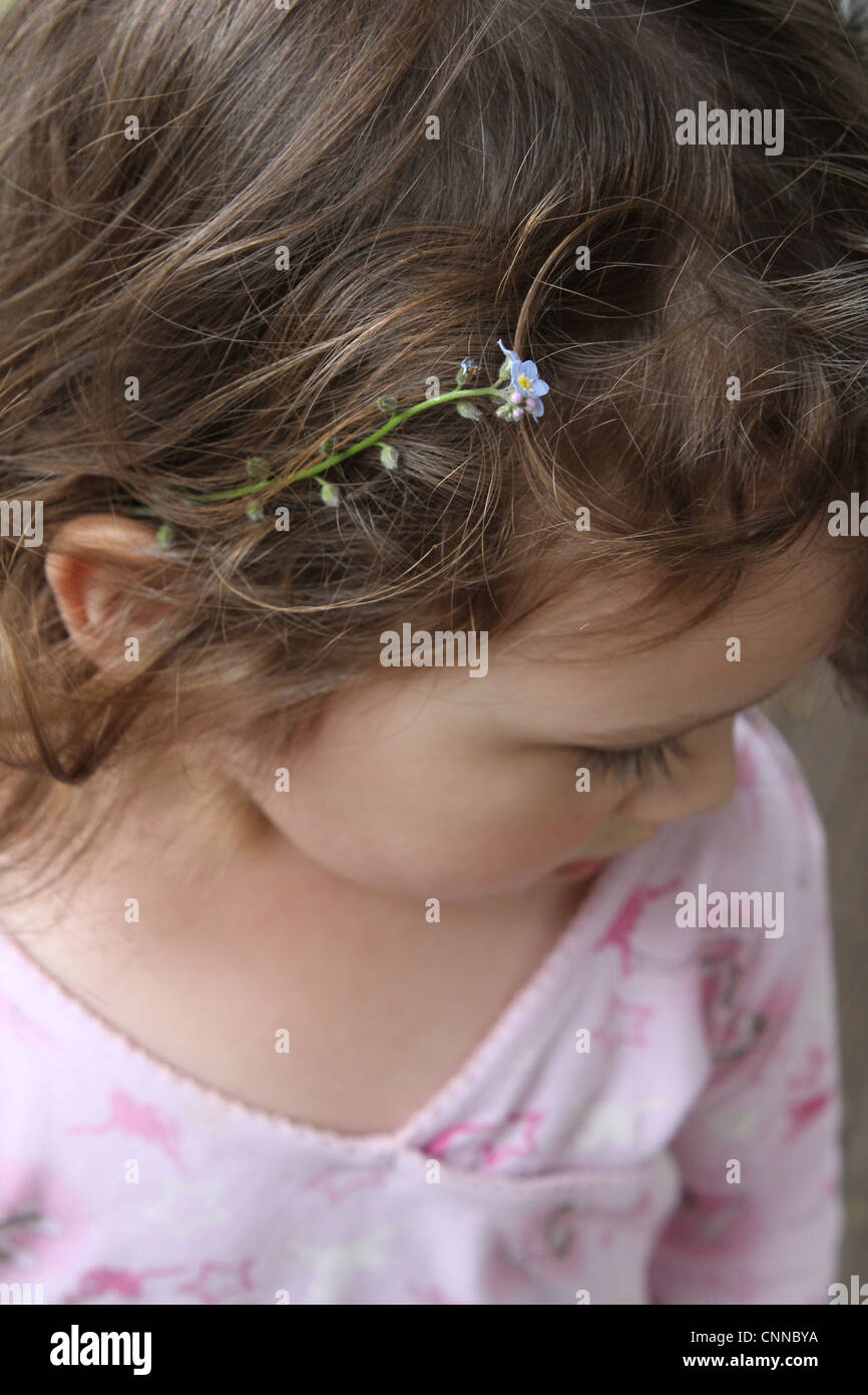 A close up of a flower in a little girl's hair. - Stock Image