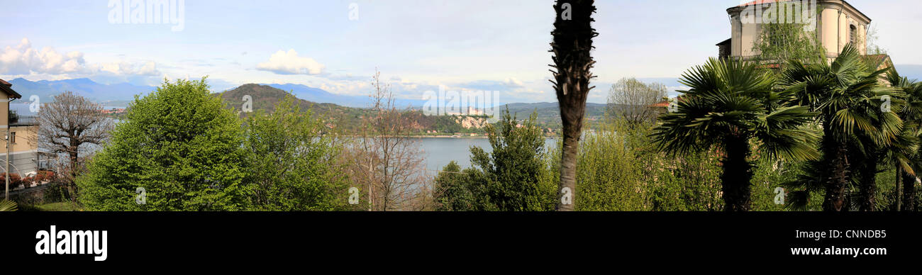 A view of Lake Maggiore and the Alps, Novara - Stock Image