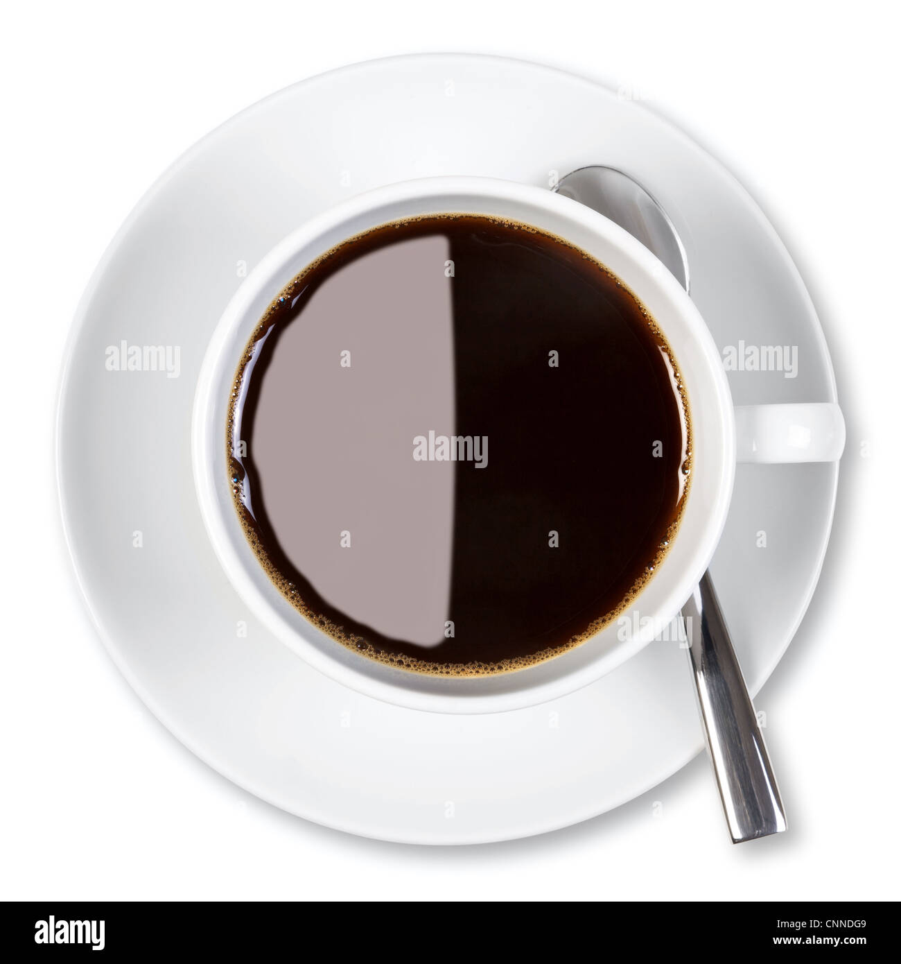 Overhead photo of a cup of black coffee, isolated on a white background with clipping path. - Stock Image