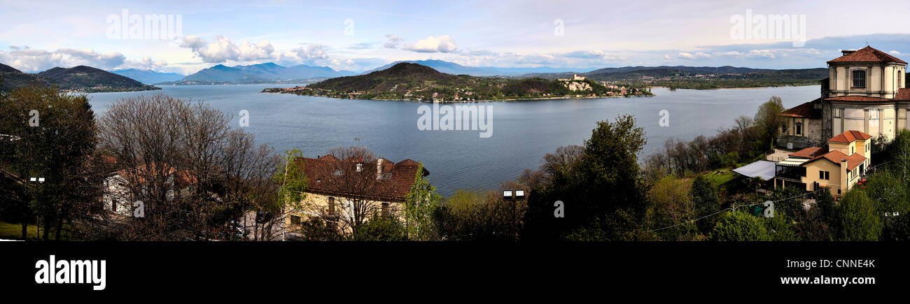 A view of Lake Maggiore and the Alps, Arona - Stock Image