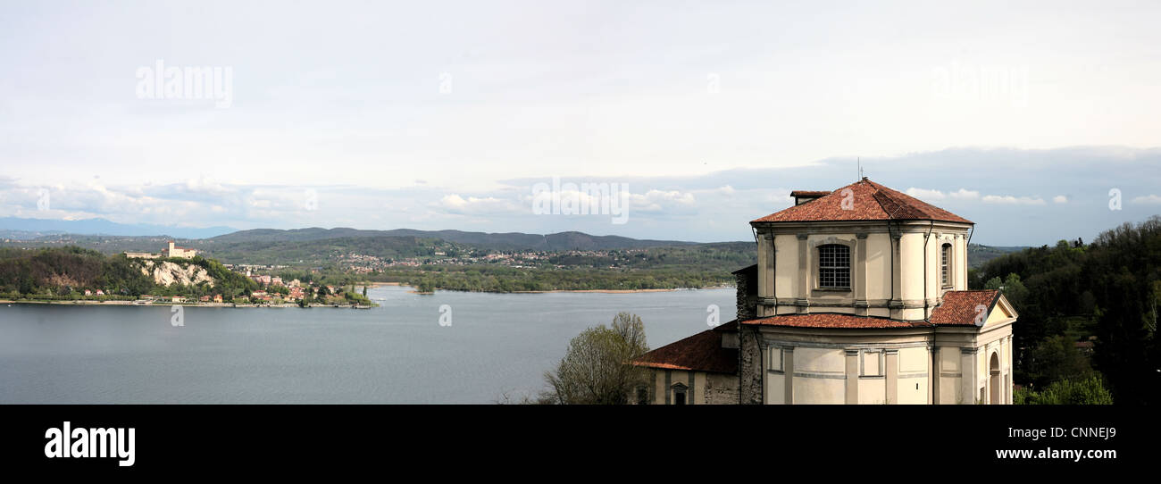 Panoramic view of lake Maggiore - Stock Image