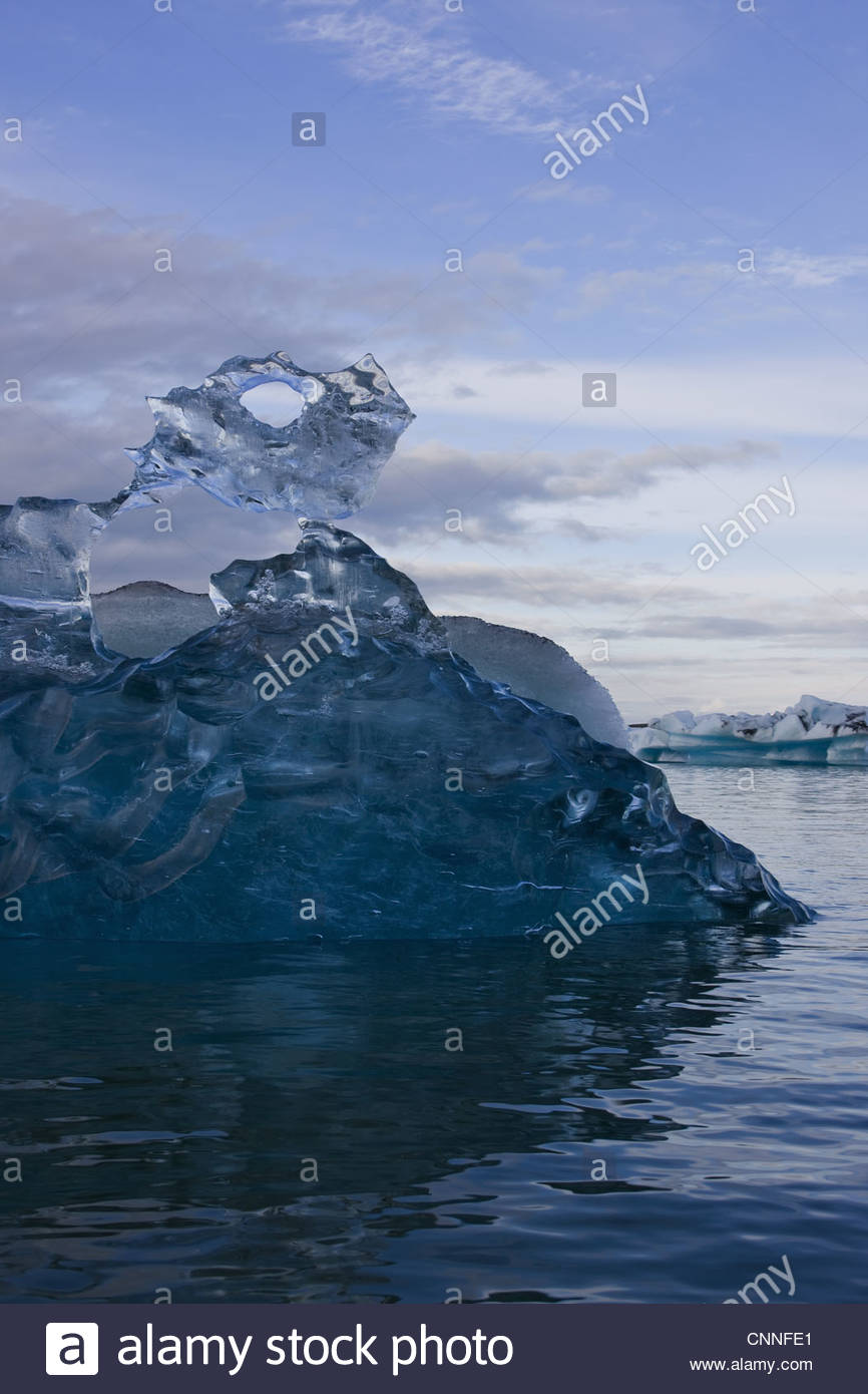 Glacial ice formation in lake - Stock Image