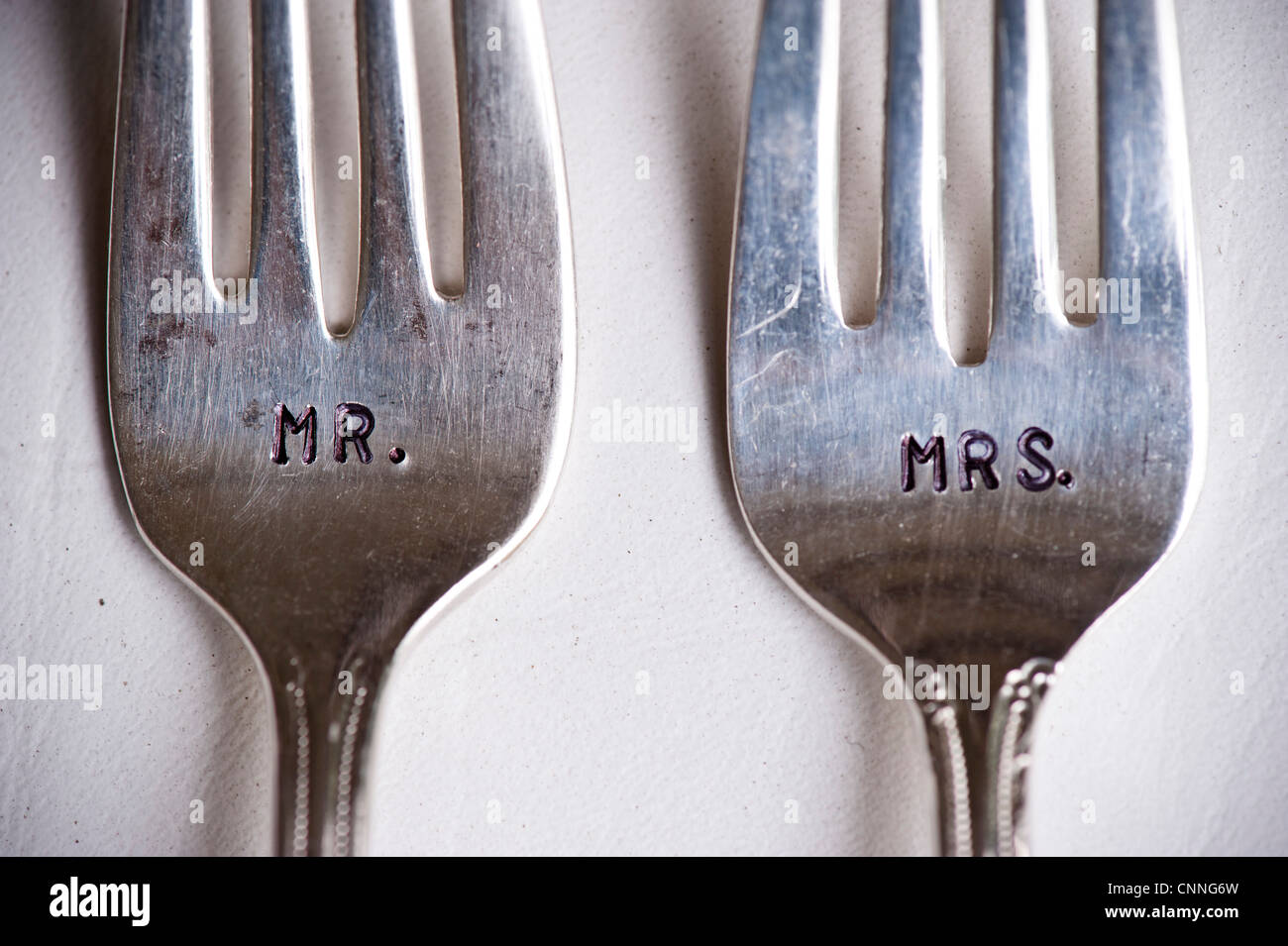 Close-up of Mr. and Mrs. Forks at Wedding, Muskoka, Ontario, Canada Stock Photo