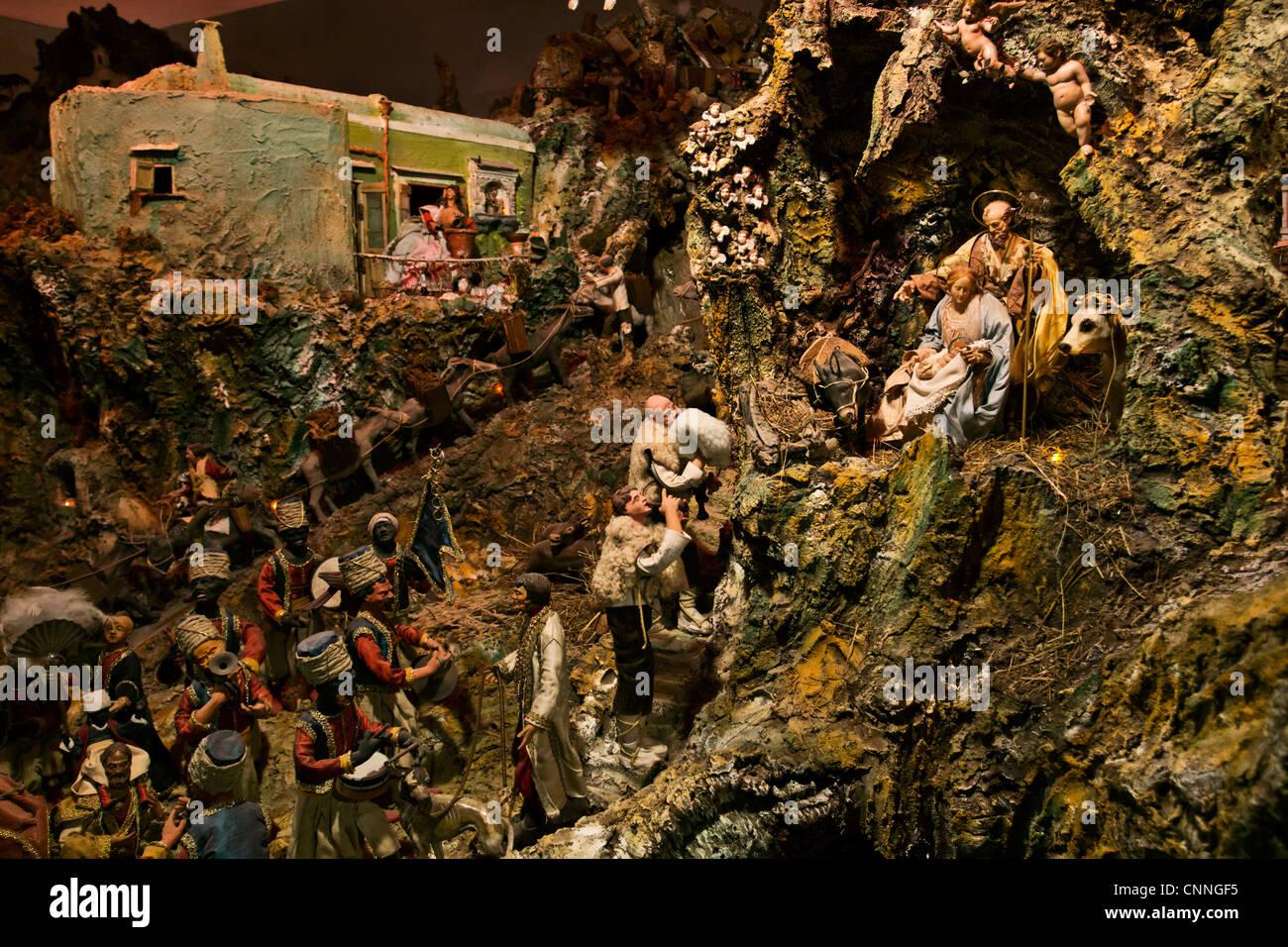 Traditional Neapolitan Nativity set in Ischia Island, Naples, Campania, Italy - Stock Image