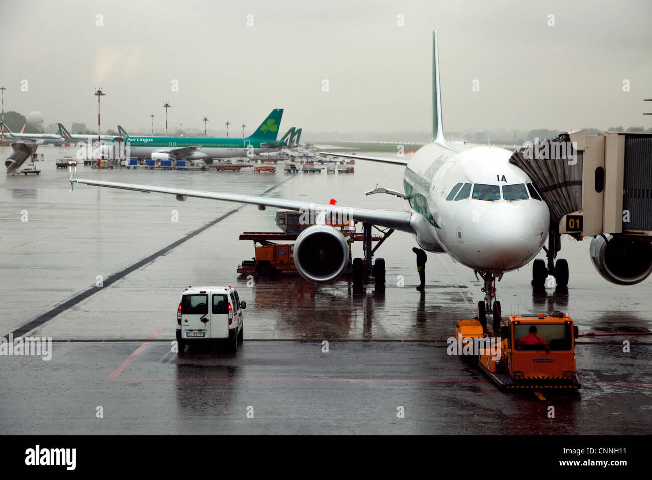 Airplanes at the gate, Linate Airport, Milan, Milano, Italy, Italia, Europe - Stock Image