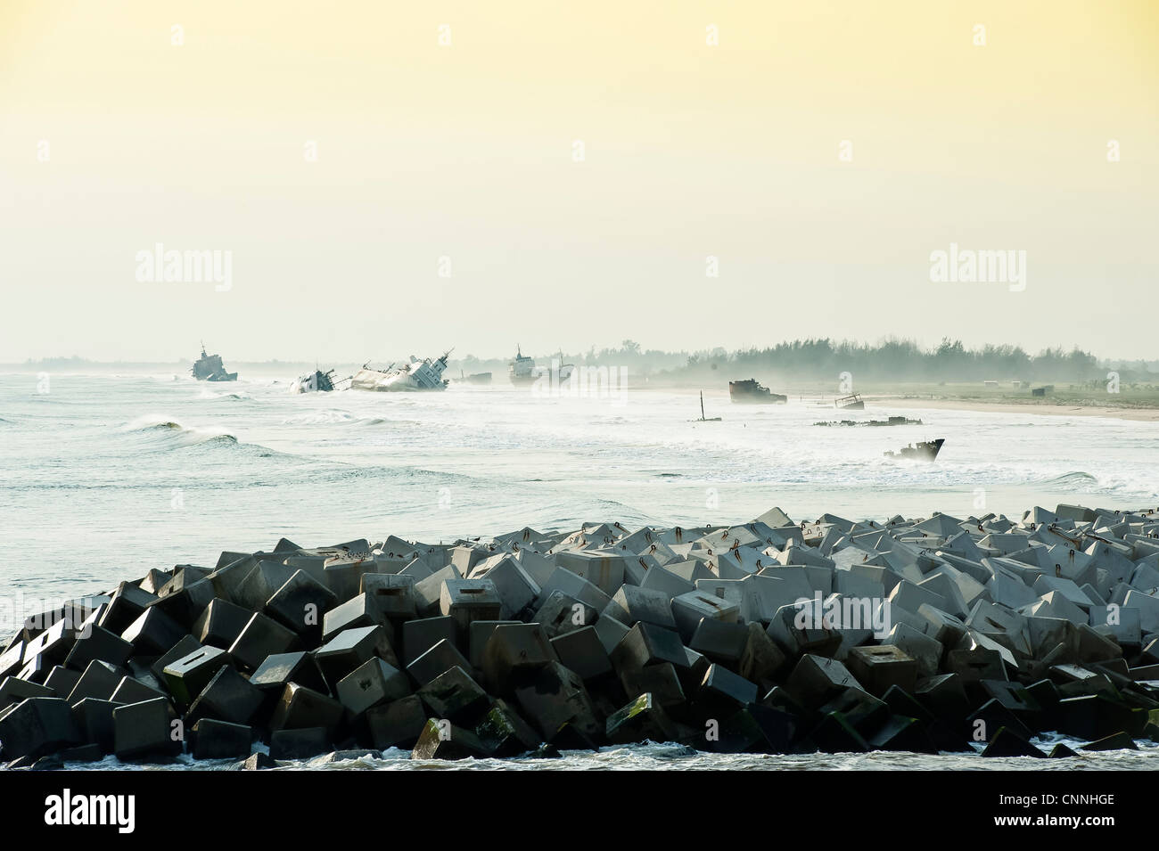 ship wrecks of the coast of Nigeria - Stock Image