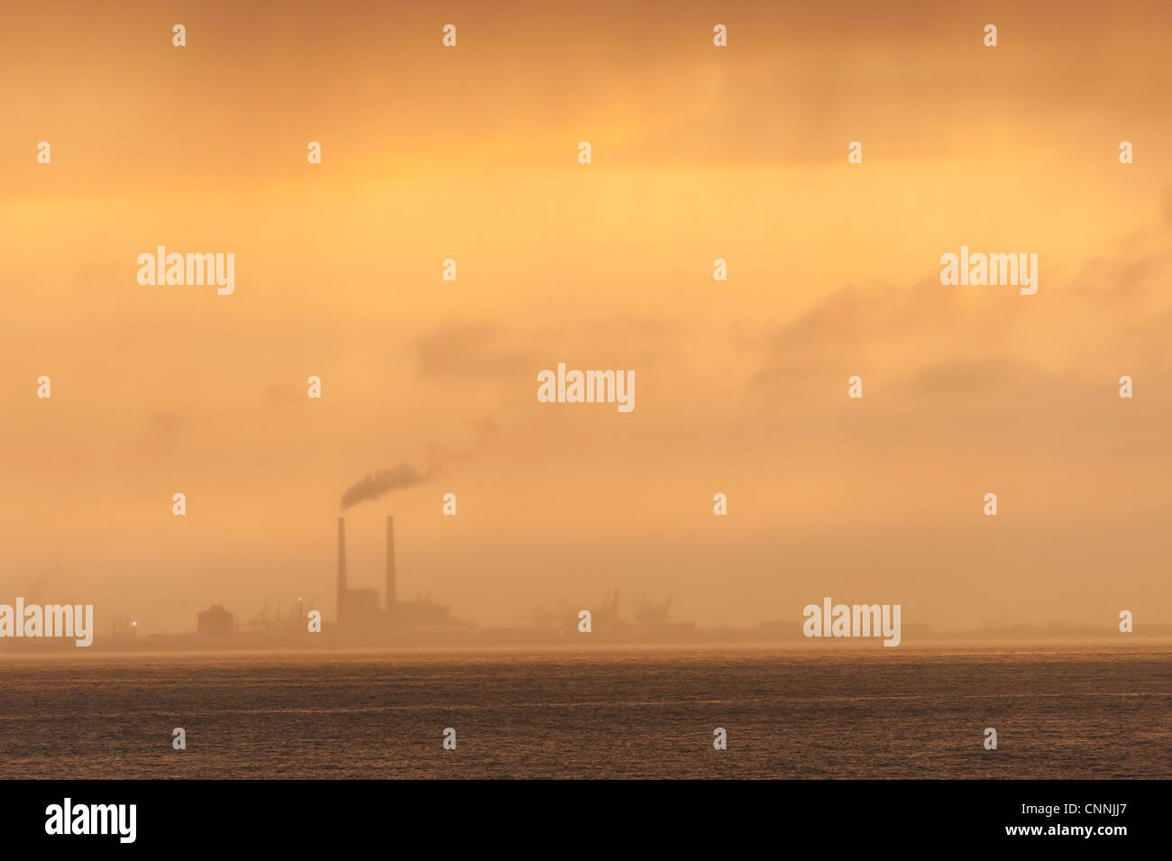 factory industrial air pollution - Stock Image
