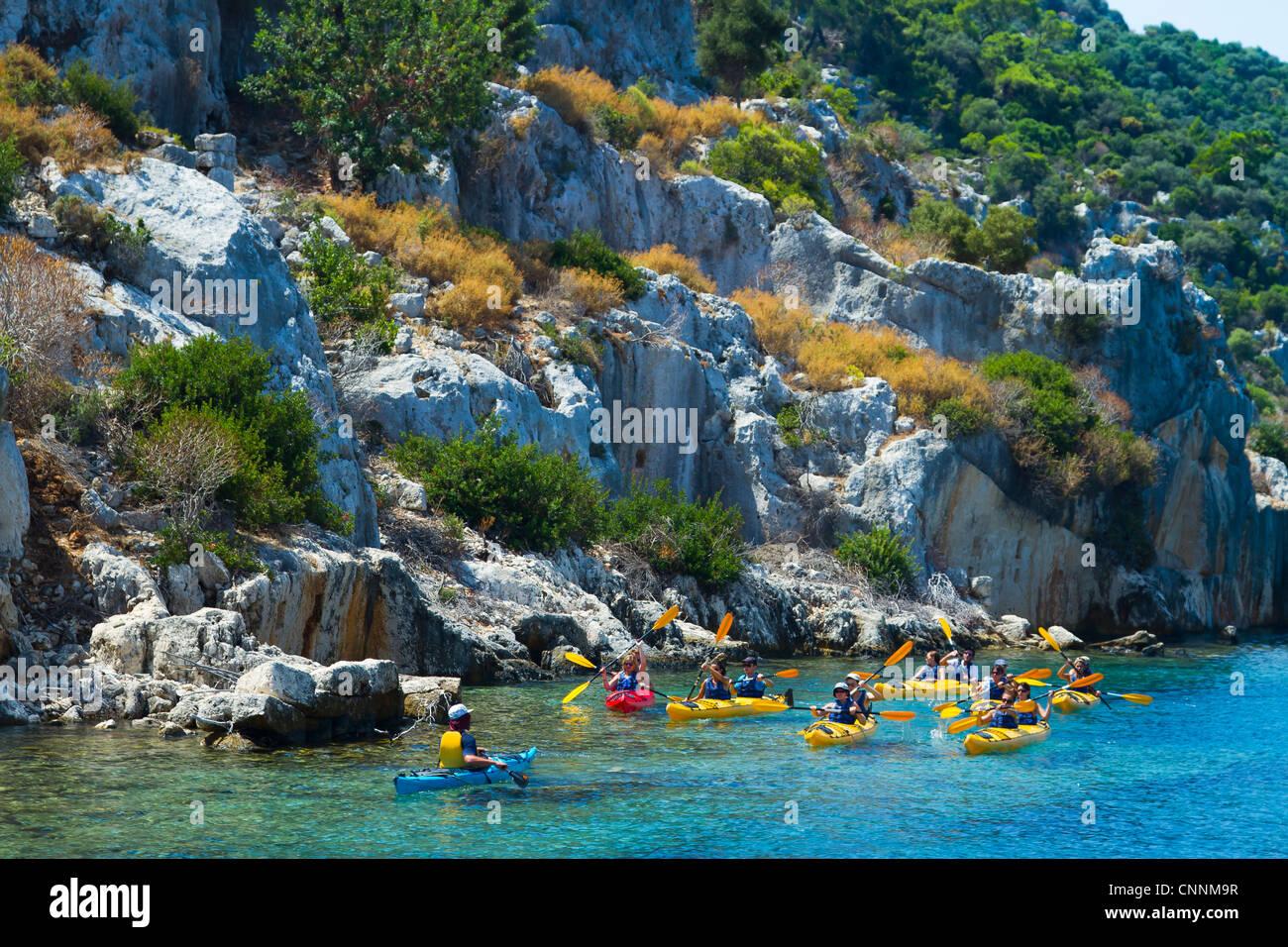 People and kayak. Kekova island. Antalya province. Mediterranean coast. Turkey. - Stock Image