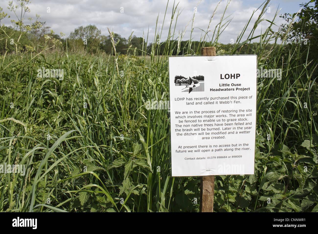 Information sign recently purchased land fen habitat
