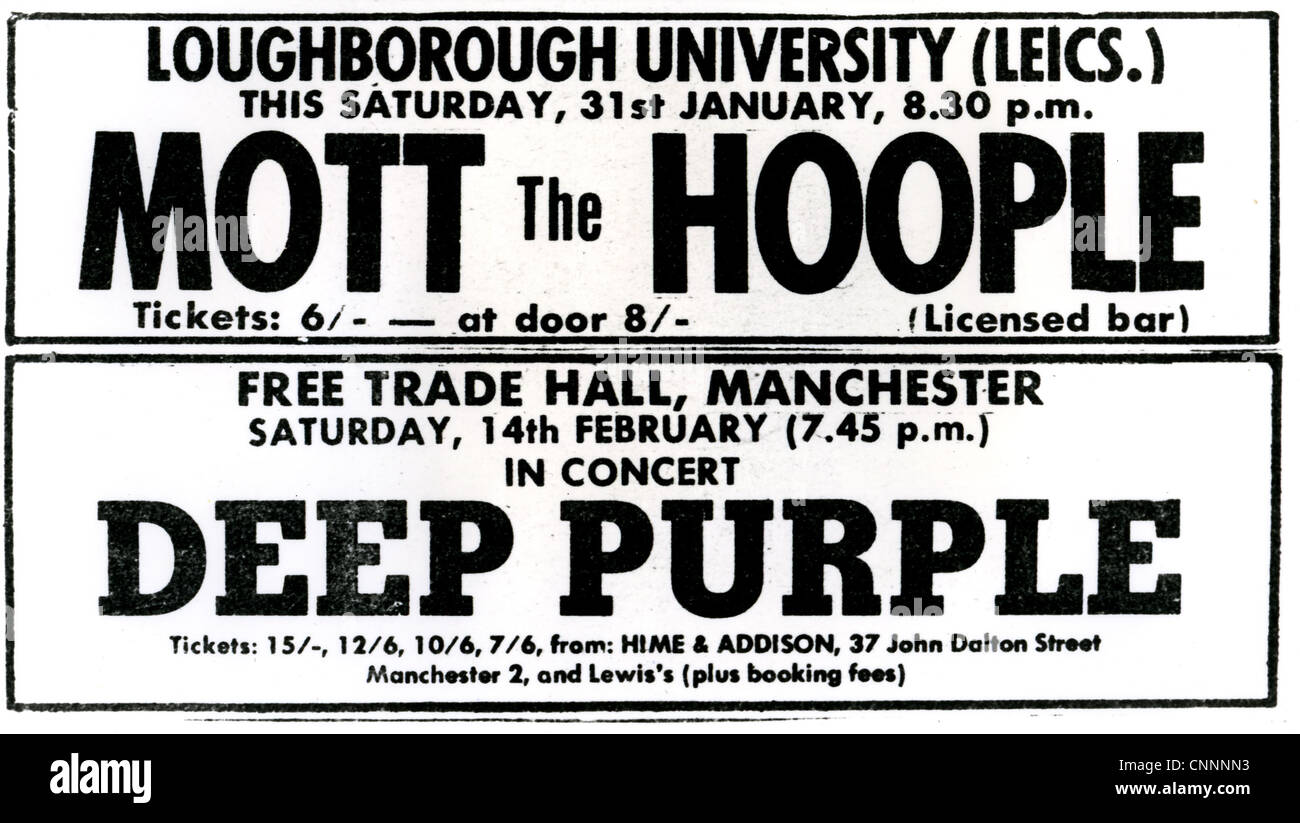 DEEP PURPLE and MOTT THE HOOPLE advert for 1970s gigs - Stock Image