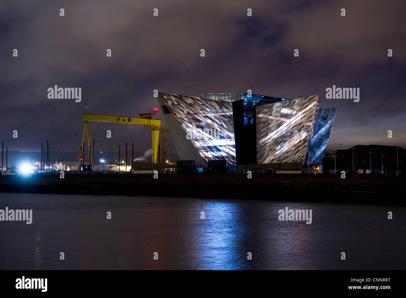 Titanic Belfast Lightshow Stock Photo