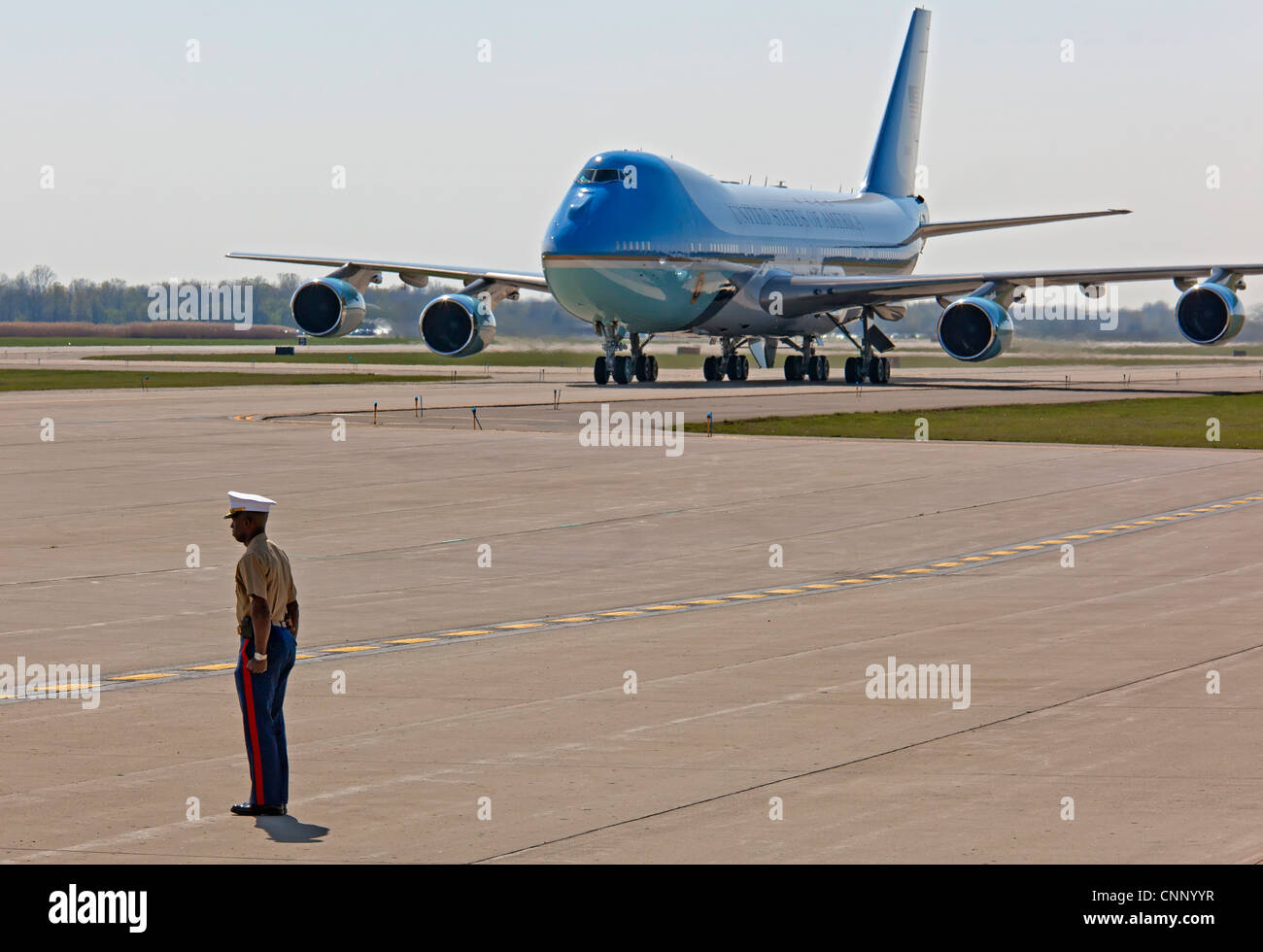 Detroit, Michigan - A Marine stands guard as President Barack Obama arrives at Detroit Metro Airport on Air Force - Stock Image