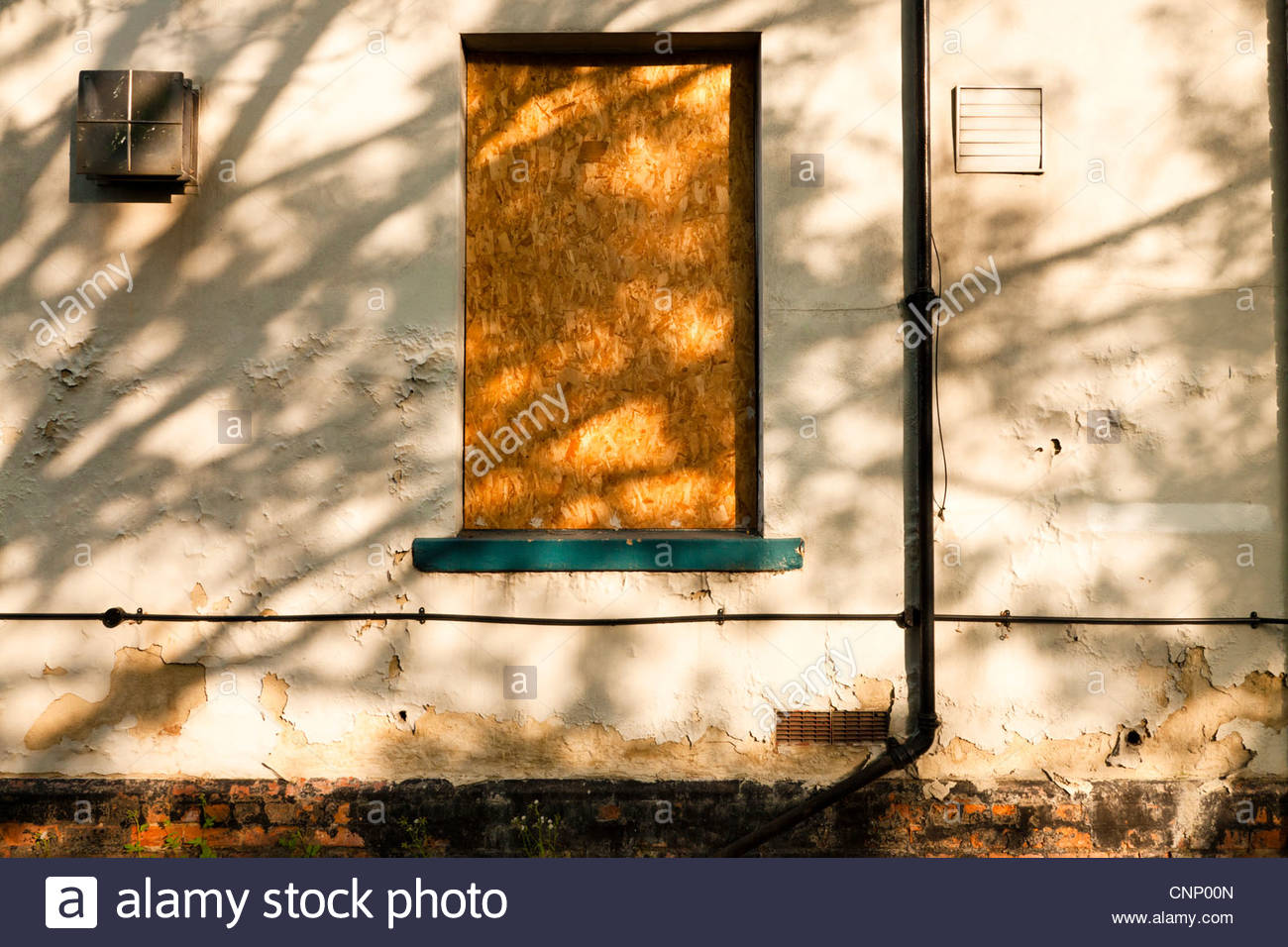 Sunlight through a tree casting shadows on an old disused building with a boarded up window, England, UK Stock Photo