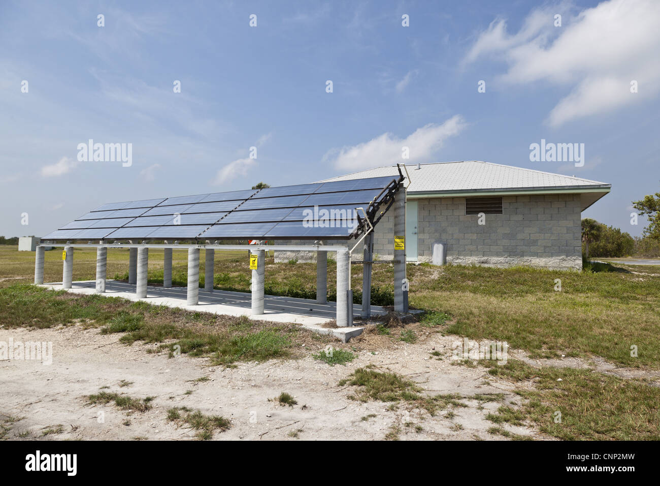 Array of solar panels providing power for public restrooms, Flamingo, Everglades N.P., Florida, U.S.A. - Stock Image