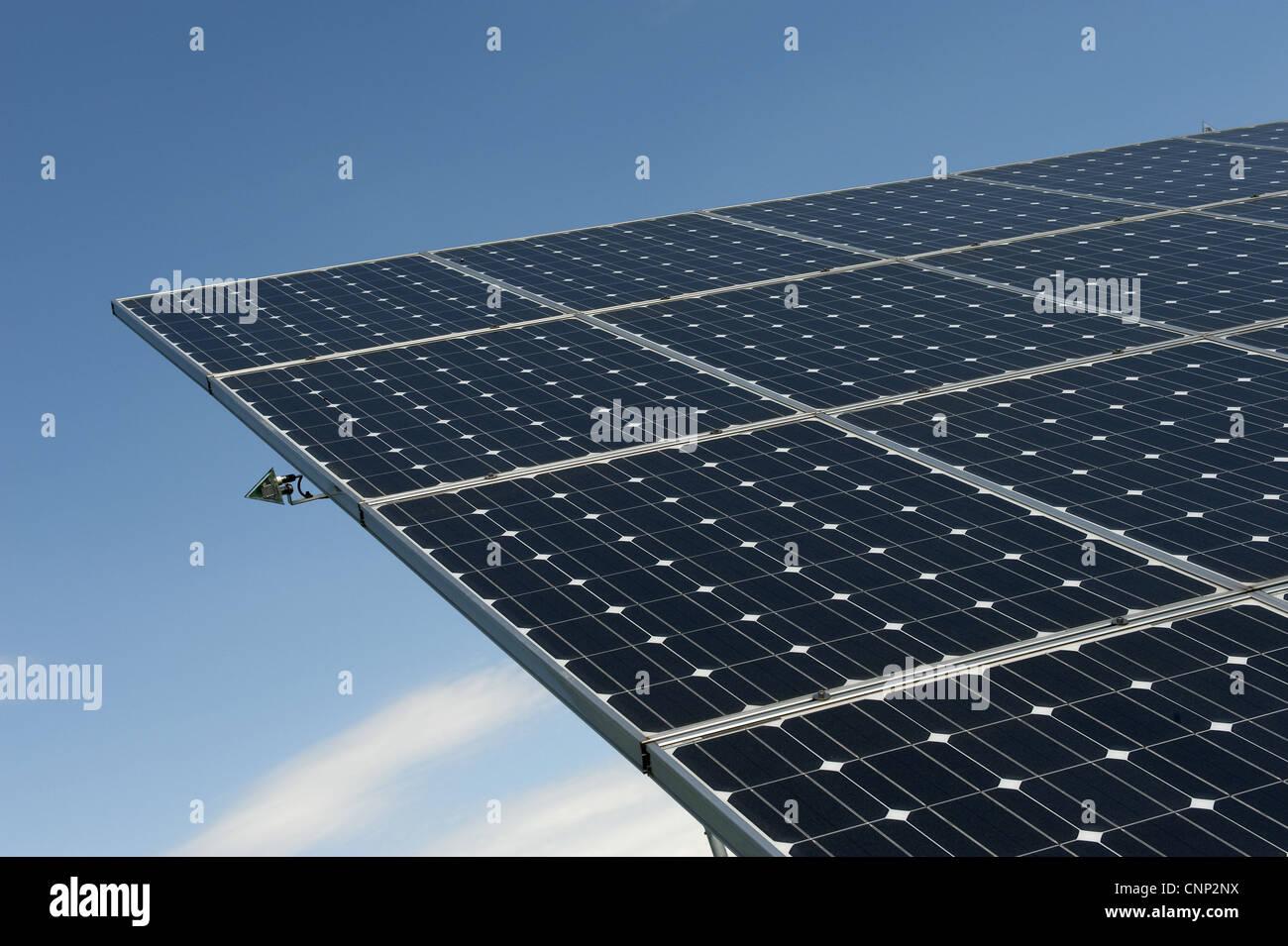 Solar energy panels at ecotech centre, Swaffham, Norfolk, England, august - Stock Image