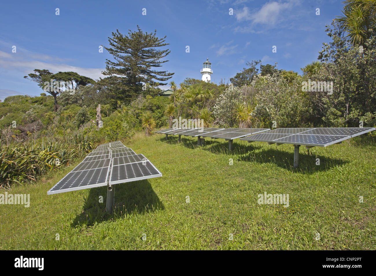 Solar energy panels lighthouse island wildlife sanctuary Tiritiri Matangi Island Hauraki Gulf North Island New Zealand - Stock Image