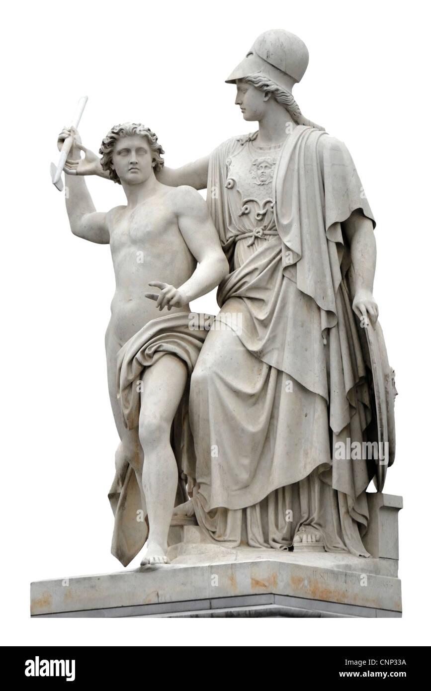 Berlin, Germany. Statue on Schlossbrucke - Pallas Athene teaches the art of spear-throwing (Hermann Schievelbein, - Stock Image