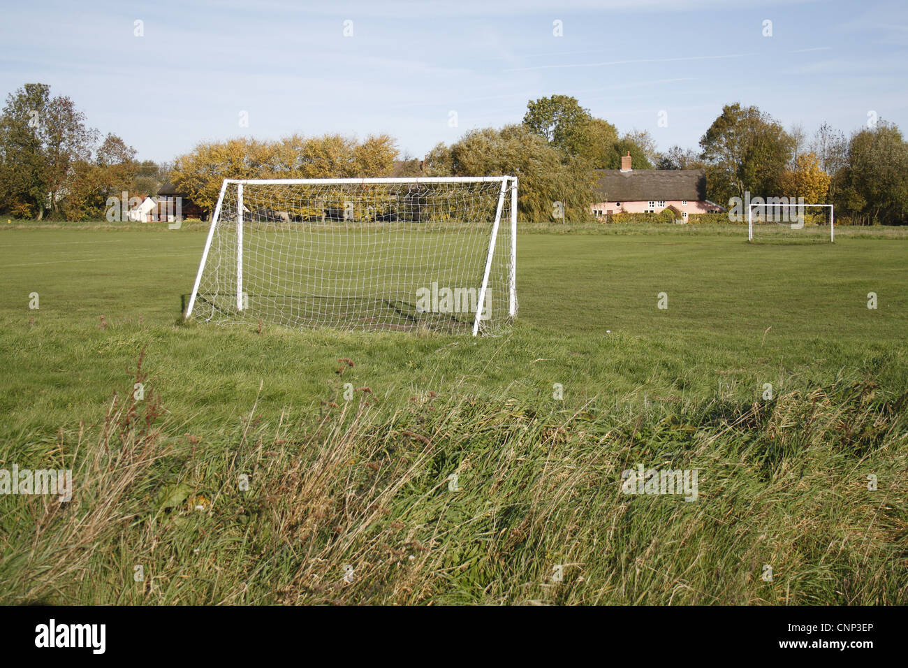 Goal posts on village football pitch, The Carnser, Mellis Common, Mellis, Suffolk, England, october - Stock Image