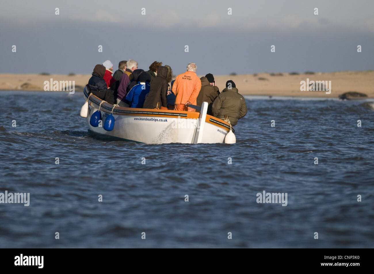 Seal watchers in boat, Blakeney, Norfolk, England, november - Stock Image