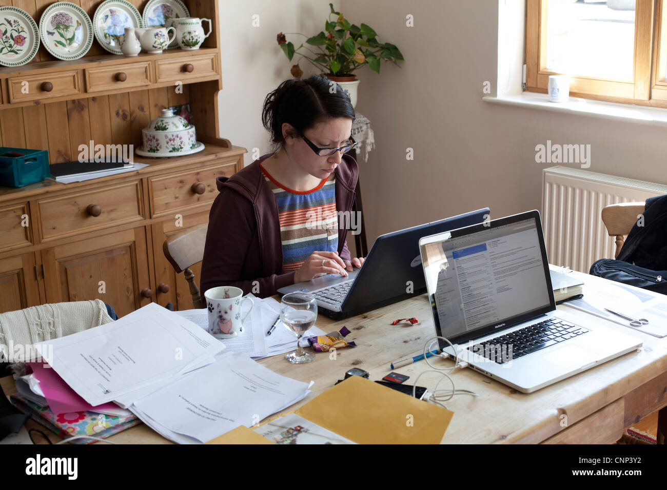 A Female student studies hard for her final exams - Stock Image