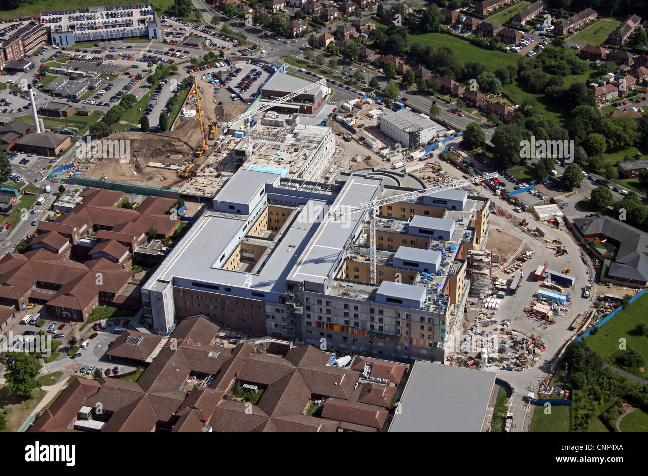 aerial view of a hospital under construction, University Hospital of North Staffordshire - Stock Image