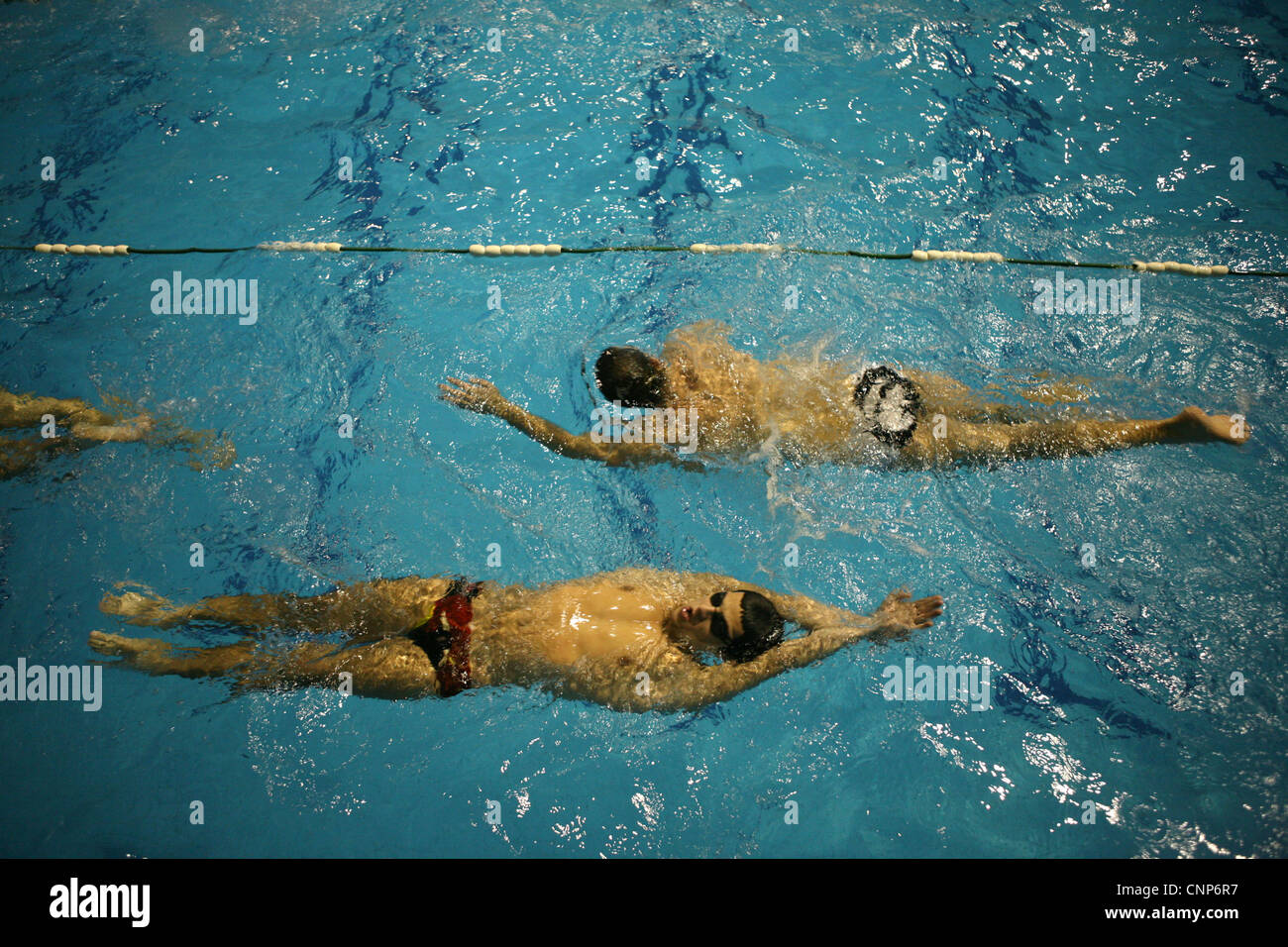 Training of the swimming club Partizan Belgrade in the Tasmajdan Sports Centre in Belgrade, Serbia. Stock Photo