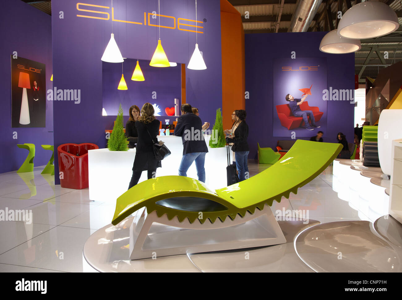 MILAN - ITALY - APRIL 2012: Salone internazionale del mobile 2012, furniture fair, Slide - Stock Image