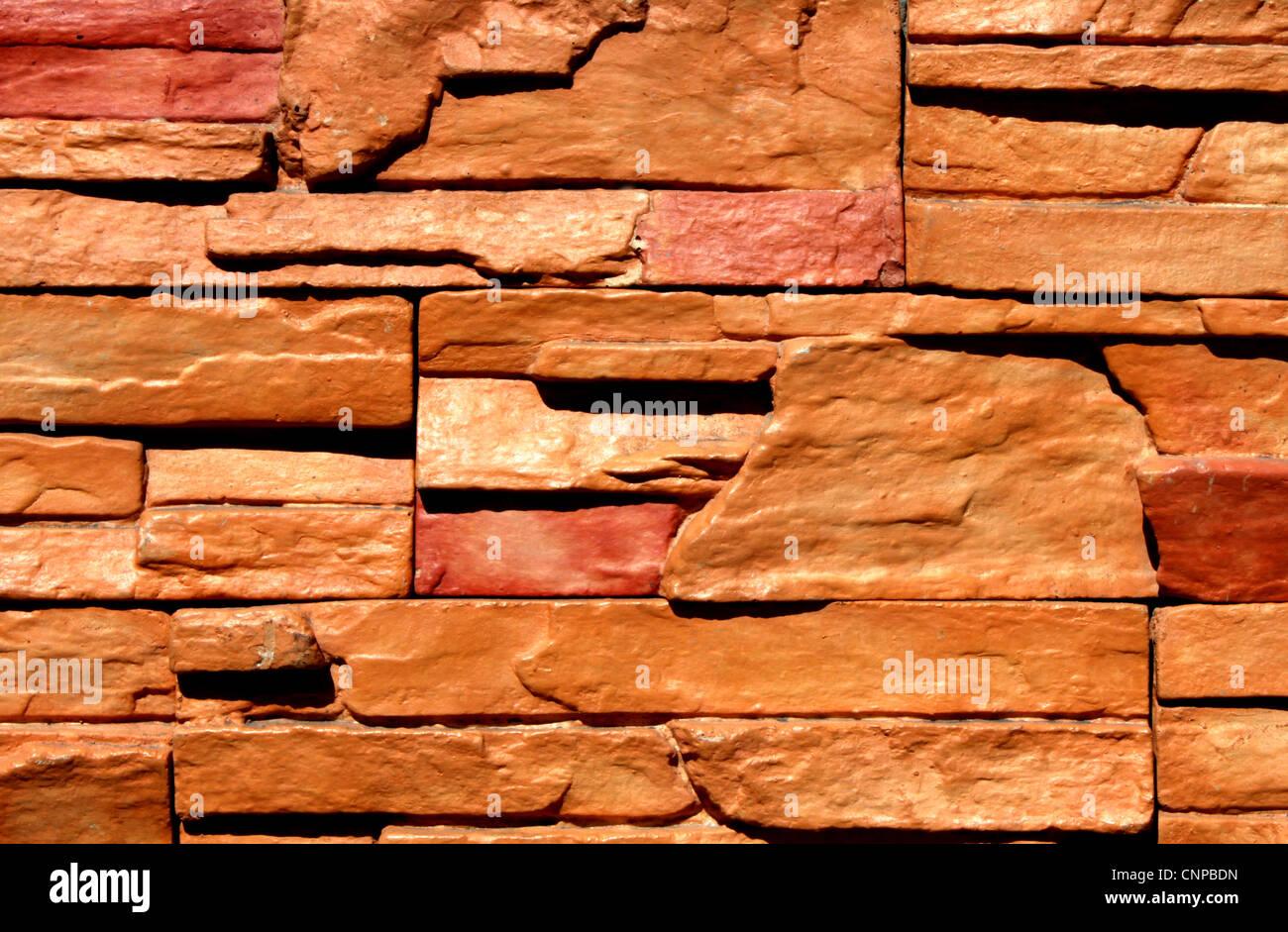 Stone Bricks Decor Installed On House Exterior Wall Stock