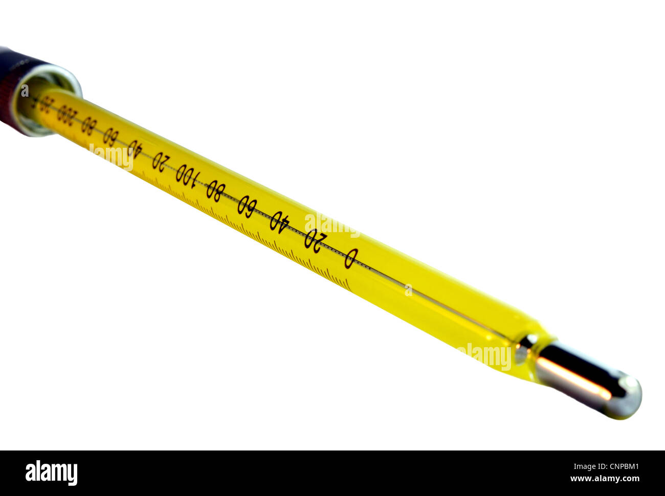 Yellow temperature gauge isolated on a white background - Stock Image
