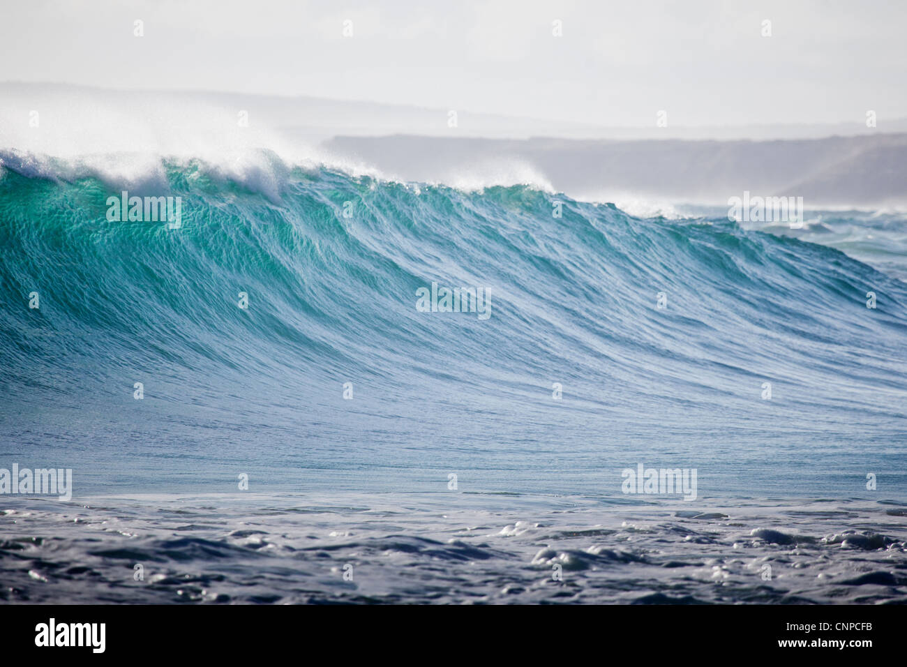 Wave breaking at Greenly Beach South Australia - Stock Image