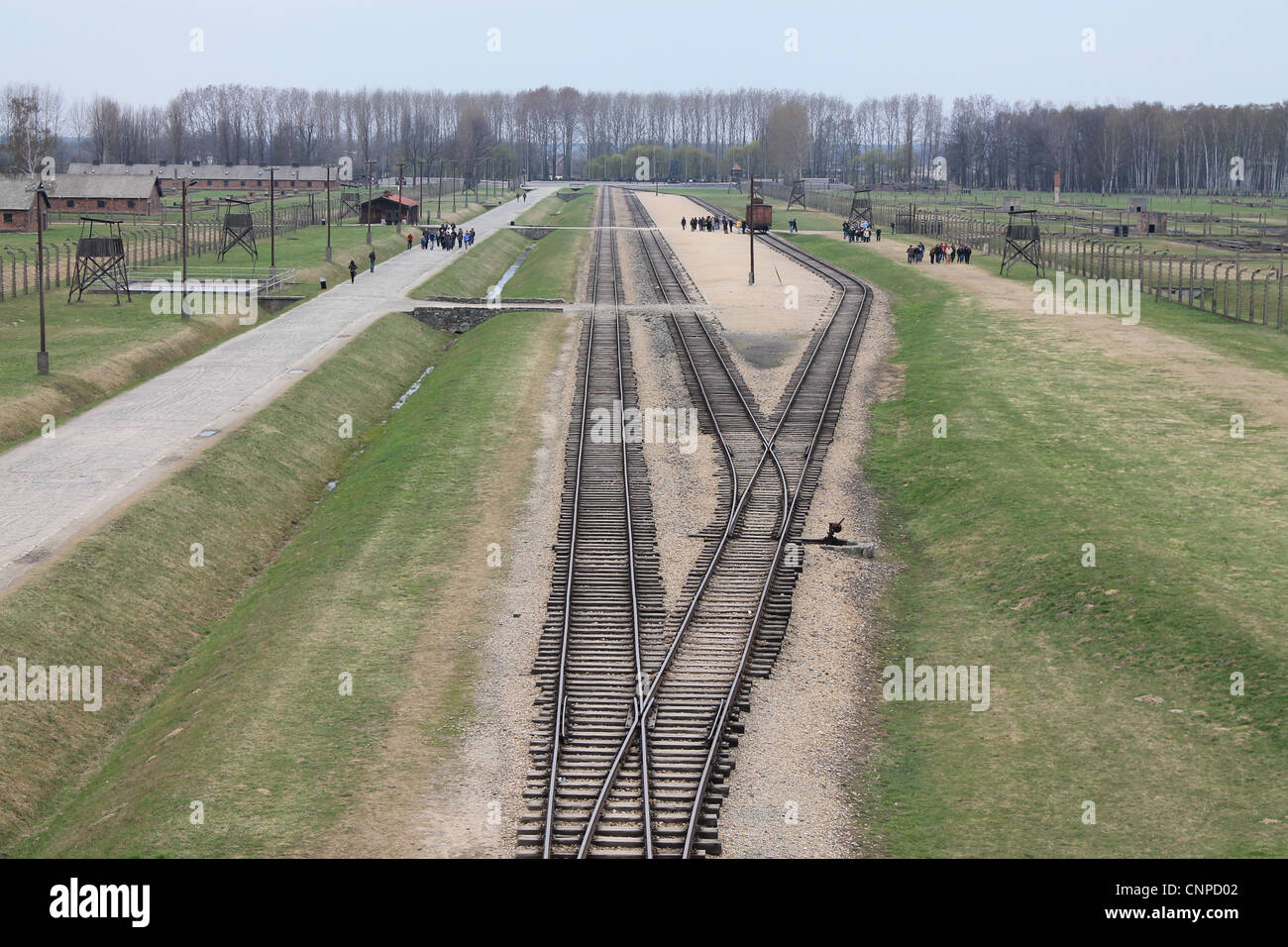 Rail lines into Birkenau Concentration Camp - Stock Image