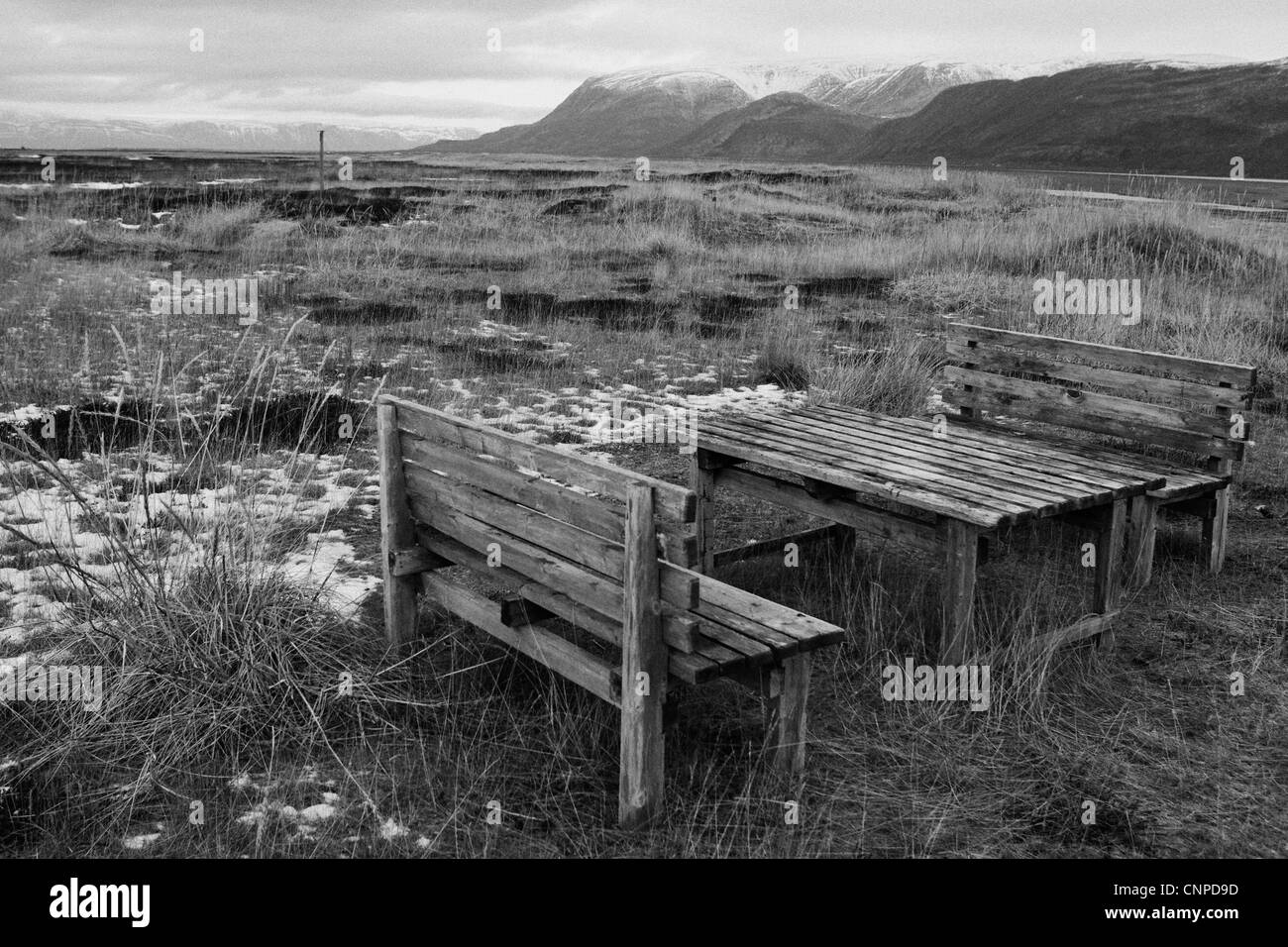 A lonely picnic bench inside the Artic Circle of Norway. - Stock Image
