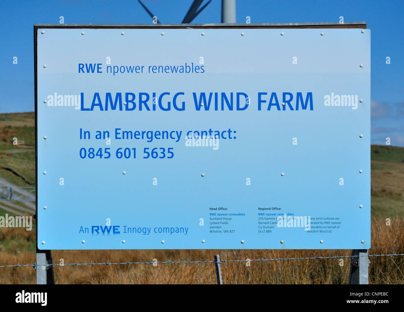 RWE npower renewables signboard. Lambrigg Wind Farm, Cumbria, England, United Kingdom, Europe. - Stock Image