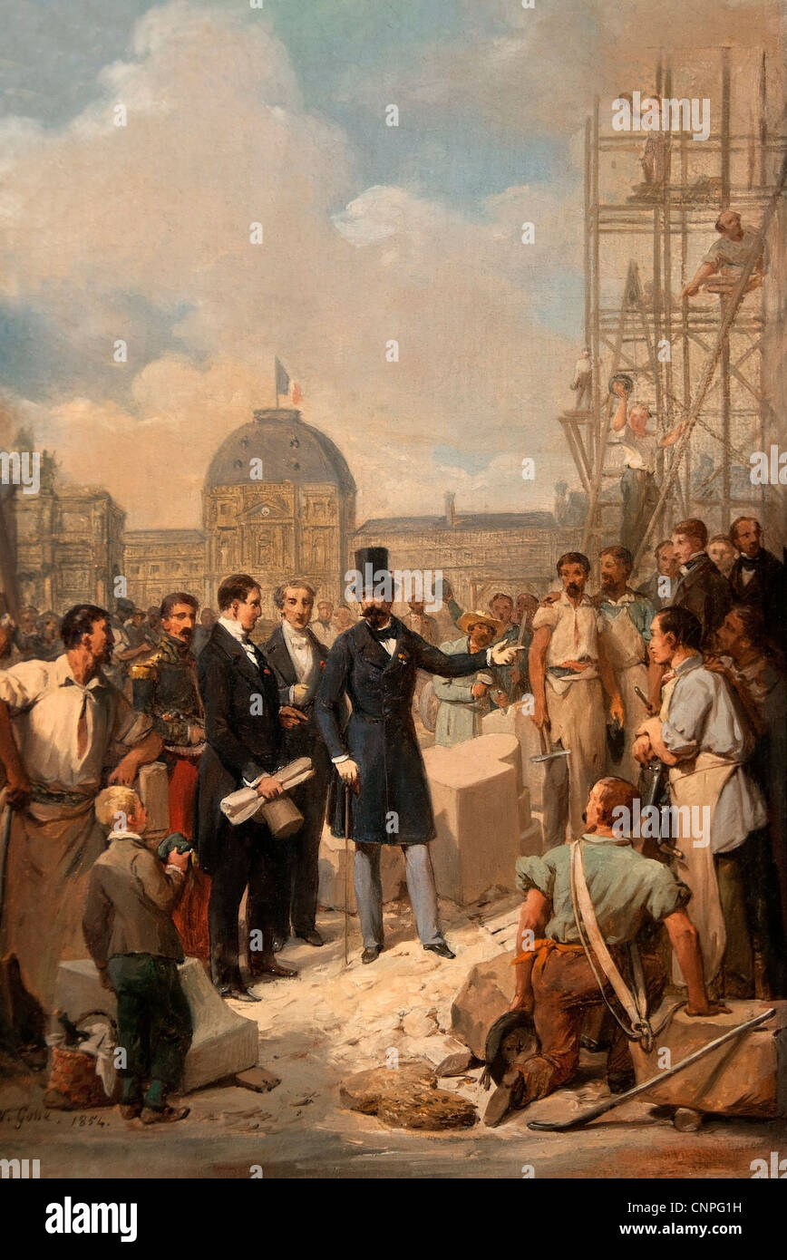 Napoleon visiting the site of the Louvre Paris 1854 by Nicolas Gosse 1787 - 1878 French France Stock Photo