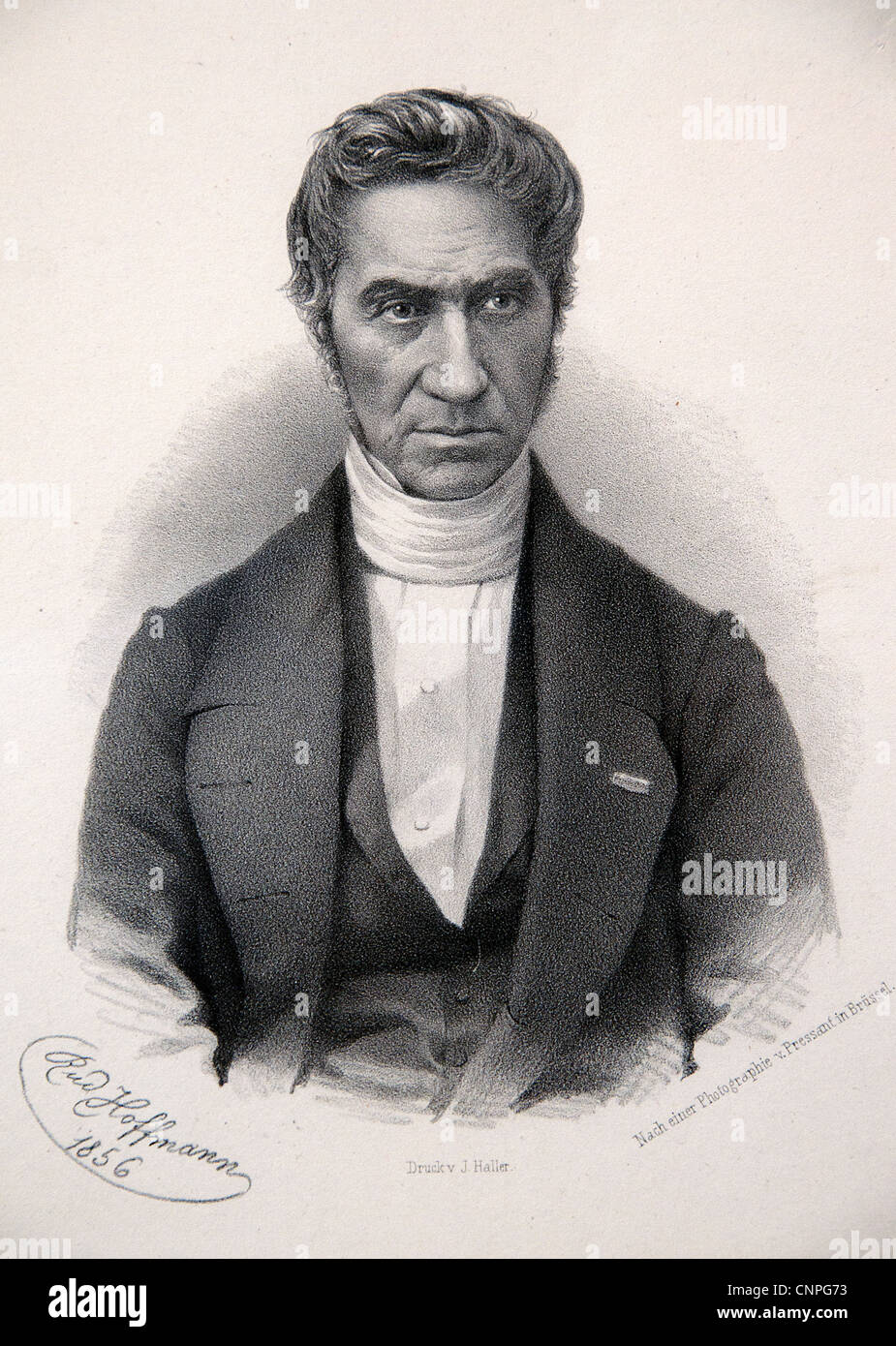 Adolphe Quetelet 1796-1874  father modern applied statistics  Belgian astronomer mathematician statistician sociologist. - Stock Image