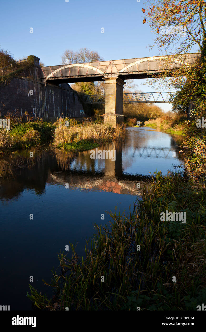 The Cosgrove Iron Trunk Aqueduct on the Grand Union Canal near to Milton Keynes, UK Stock Photo