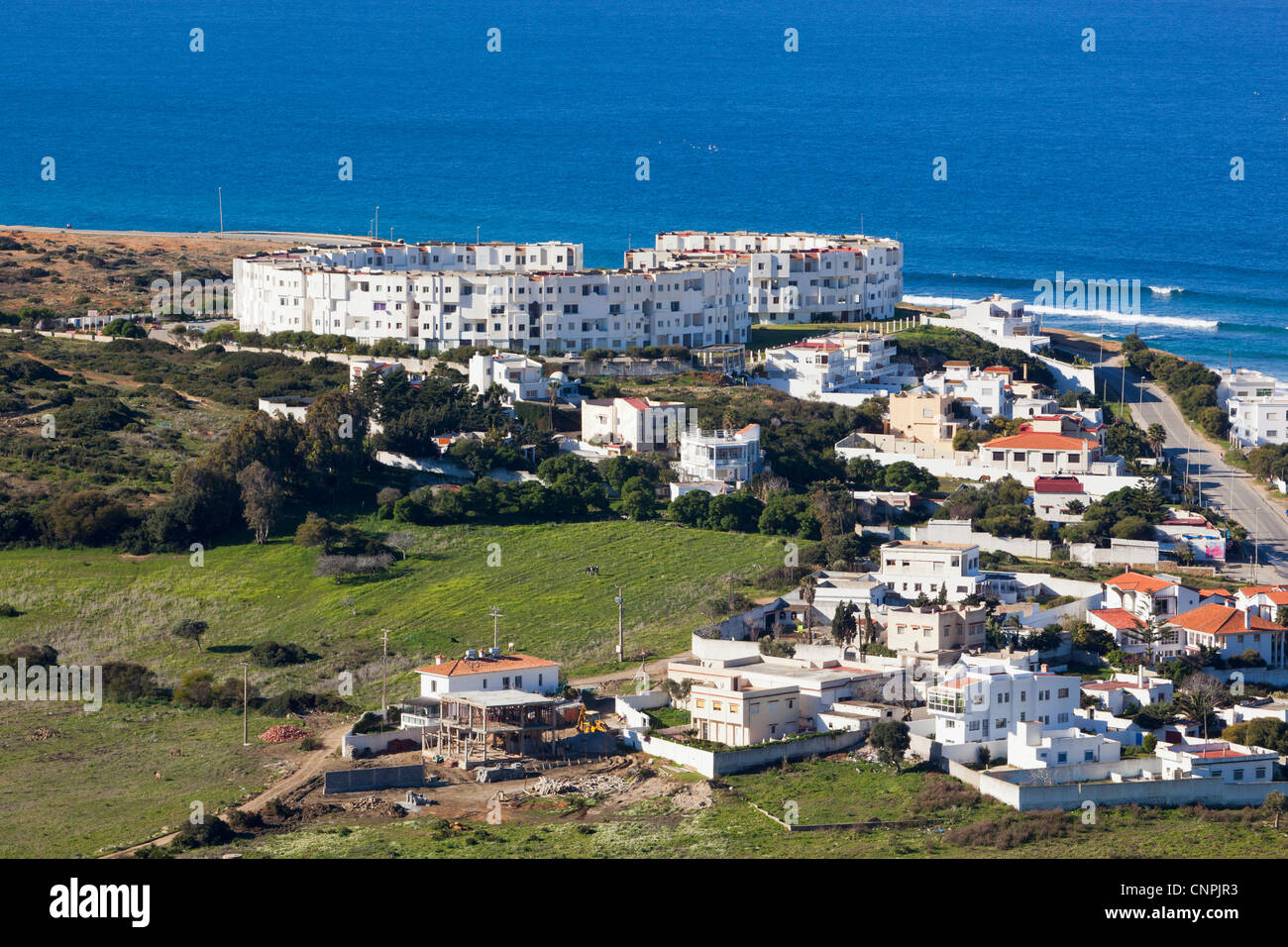 Frontline property near Cap Spartel, near Tangiers, Morocco. - Stock Image