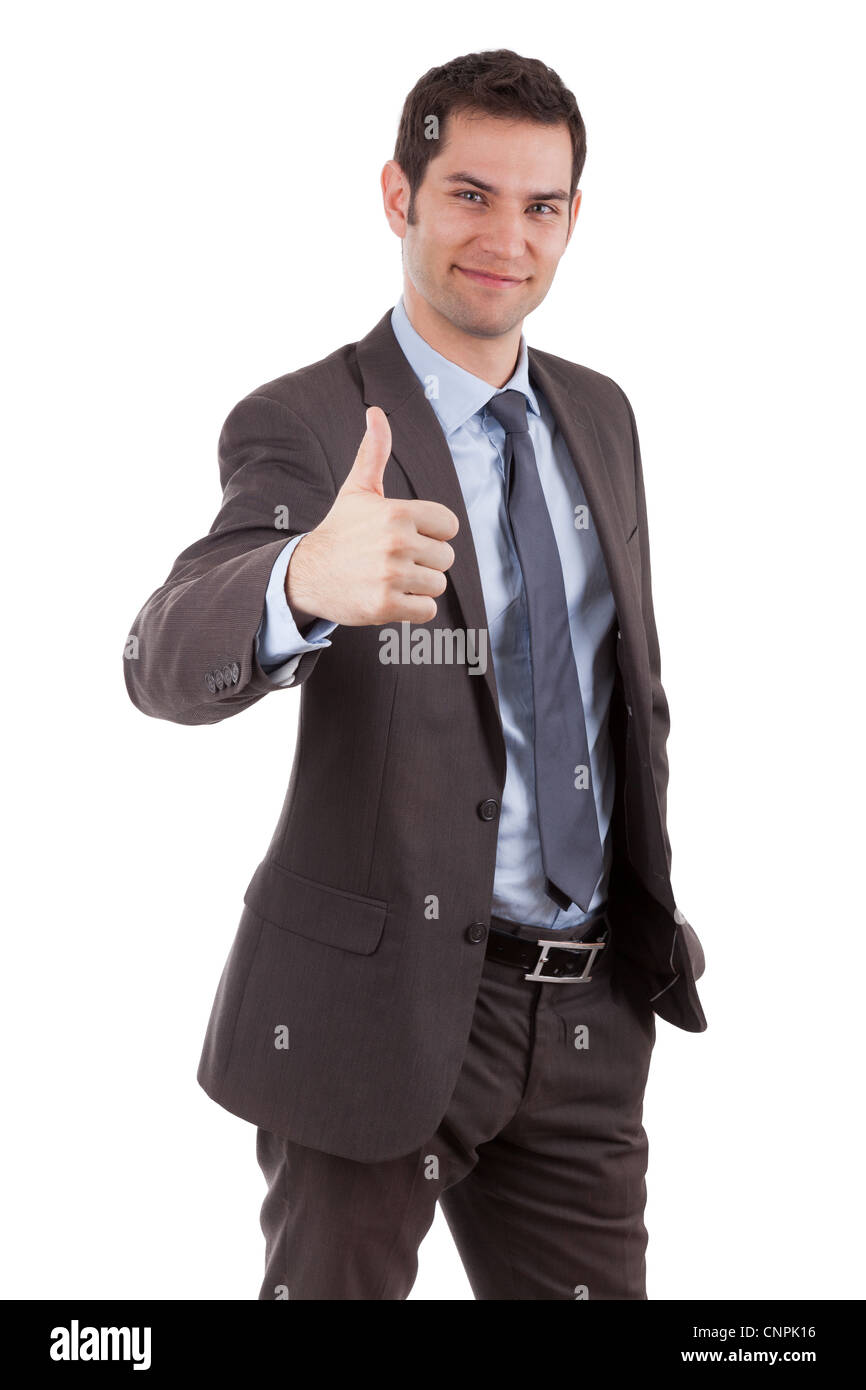 Young caucasian businessman making thumbs up gesture, isolated on white background - Stock Image