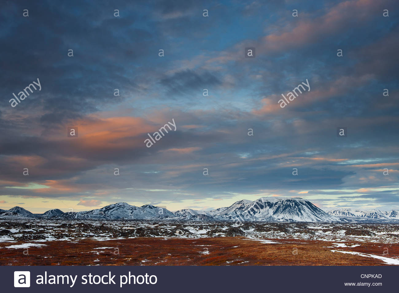 Several tall mountains stand over the ancient lava flow Búrfells-hraun in northern Iceland. - Stock Image