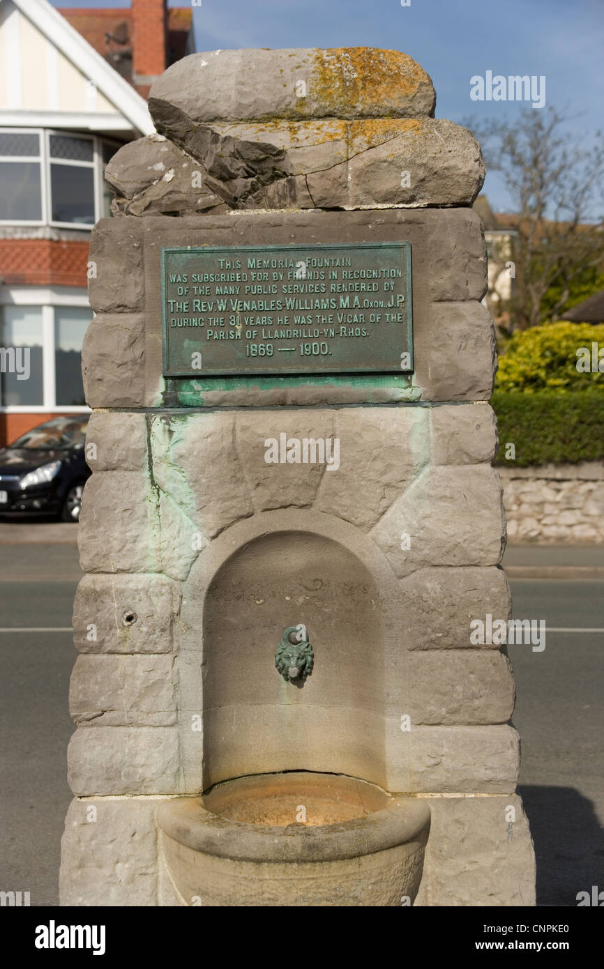 Memorial Fountain in Rhos on Sea North Wales - Stock Image