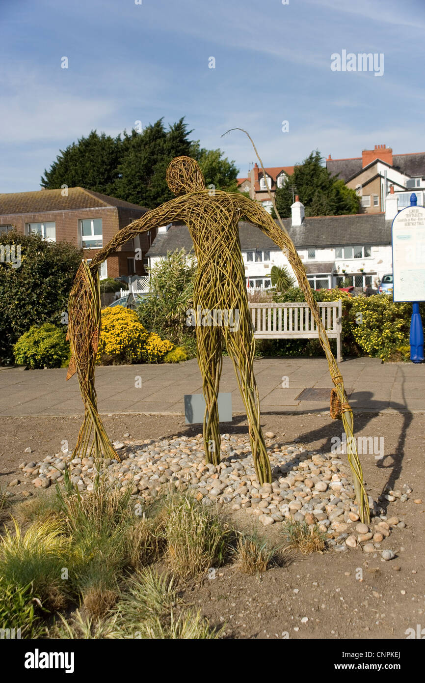 Whicker statue at Rhos on Sea North Wales - Stock Image