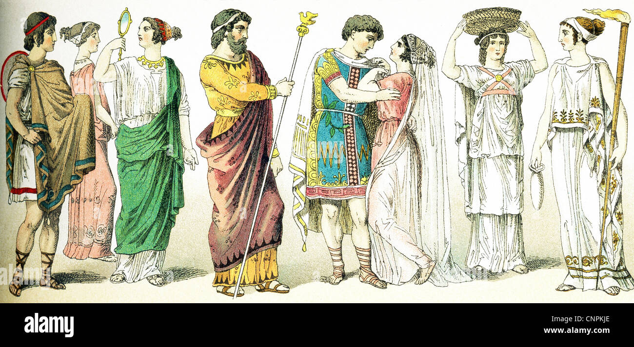 These ancient Greeks are: traveler, two women, a king, a bridal couple, a female basket-bearer, and a priestess - Stock Image