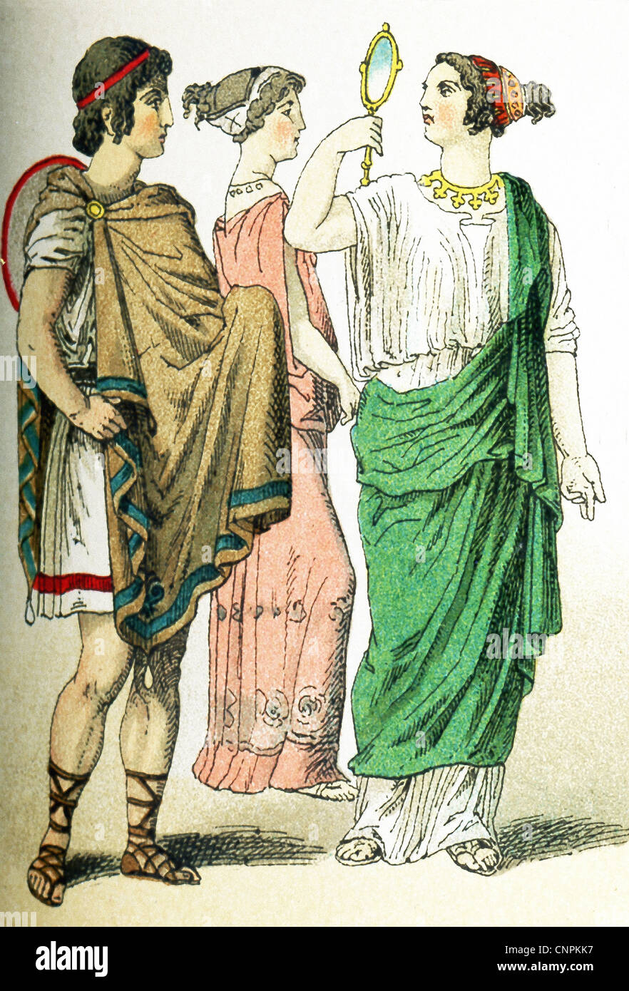 The ancient Greeks represented here are, from left to right: a Greek in traveling clothes, two women. Stock Photo